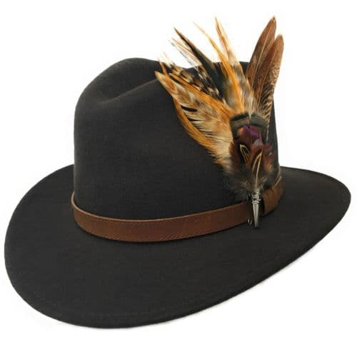 Womens Fedora Hats with Feather Brooches