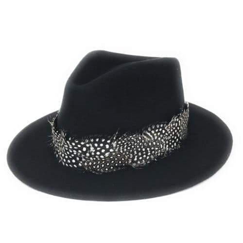 Womens Showerproof Wool Black Fedora Hat with Country Feather Wrap Trim - Charingworth
