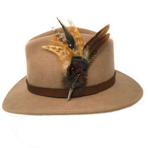 Womens Wool Beige Fedora Hat with Leather Belt Trim and Country Feather Brooch - Naunton