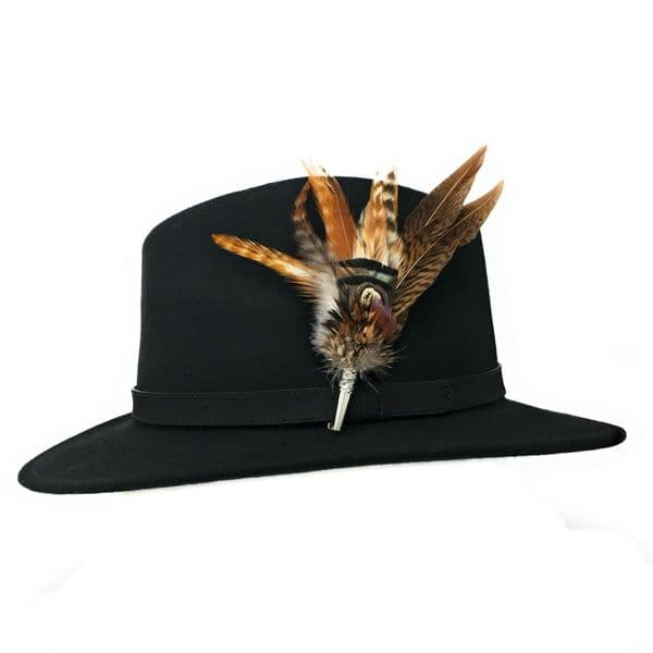 Womens  Wool Black Fedora Hat with Leather Belt Trim and Country Feather Brooch - Naunton