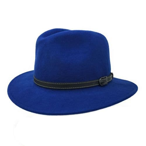 Wool Blue Fedora Hat - Showerproof - Montana