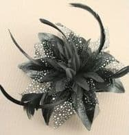 Black Flower Fascinator