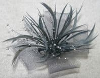 Silver/ Grey Fascinator with Bead Detail