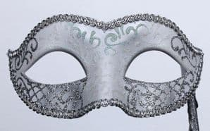 White & Silver Masquerade Mask - Mask on a Stick | Masks and Tiaras