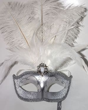 Silver and White Mask - Mask on Stick | Masks and Tiaras