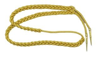 Aiguillette Gold Mylar Cord Small with Gold Barrel Tags Army