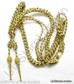Aiguillette Gold & Navy Blue Wire Cord With Naval Tages