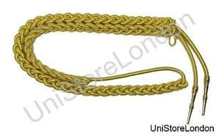 Aiguillette Gold Wire Cord  Small with Gold Barrel Tags Army