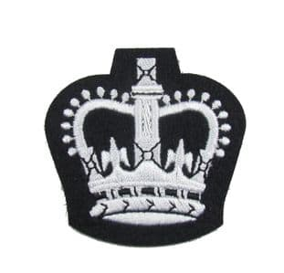 Badge Crown Army Warrant Officers Class 2 Crown  WO2 Crown SNCO White on Black R1819