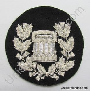 Badge Drum Major Silver on Black Pipe Band R1212