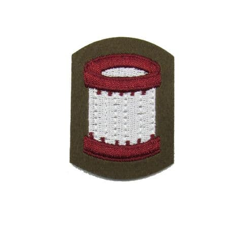 Badge Drummer Badge Embroidered White Brown on Khaki FAD R1618