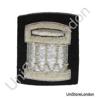 Badge Pipe and Drum Band Silver Bullion On Black R1215