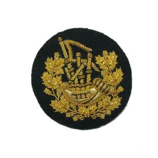 Badge Pipe Major Gold on Dark Green  Small 6 cms Wide R1648