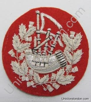 Badge Pipe Major Silver on Red R1220