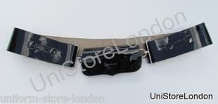 Belt Cross Belt Black High Gloss Patent  Leather 62mm Wide Chrome Fitting R965