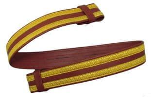 Belt Gold Red/Maroon Gold 45 mm wide on Red/Maroon Leather R1921