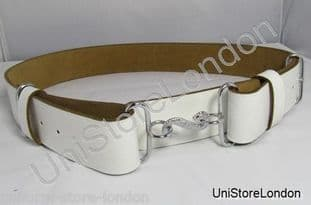 Belt Snake Buckle Belt Chrome Snake Buckle White R1154