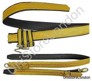 Belt Sword Belt Gold on Black Leather Gold Red Gold Slings Size 38-40 R1374