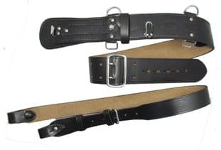Black Sam Browne Belt Shoulder Strap Leather Brass Quick Release Clip-on R255