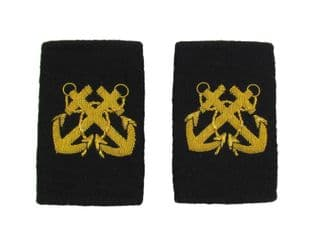 Bosun Epaulette Crossed Anchors Embroidered Gold Bullion Black Felt