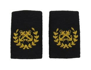 Bosun Epaulette Crossed Anchors with Wreath Embroidered Gold Bullion Black Felt