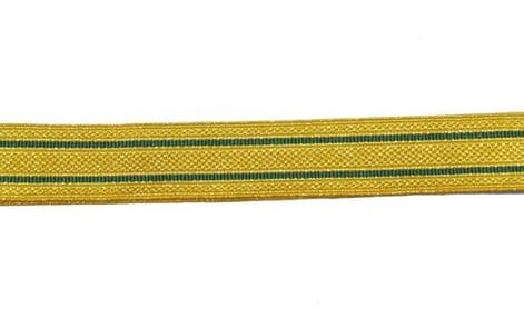Braid Lace Gold Metallic Mylar with 2 Green Strips Line 25mm By Meter R1789