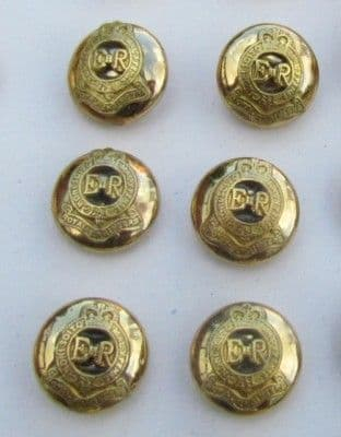 Button Raised Crest Royal Engineers Gold Size 14mm PKT-6 R688