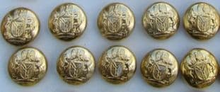 Buttons Military Nigeria Army Gold Size 14mm R685