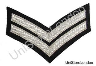 Chevron Corporal Silver Black  150mm 2 Bars Wide R1343