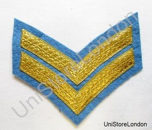 Chevron Corporal Stripes 2 Bars  Gold on Sky Blue 100mm Wide R1022