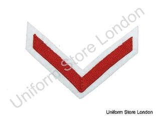Chevron Lance Corporal Red on White 100mm Wide 1 Bar  R1558