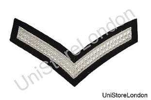 Chevron Lance Corporal Silver Black  150mm 1 Bar Wide R1344