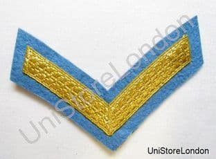 Chevron  Lance Corporal Stripes 1 Bar  Gold on Sky Blue 100mm Wide R1021