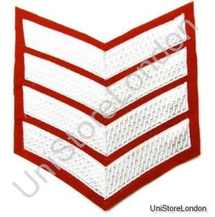 Chevron Large 4 Silver Bars on Red Wide 175mm  R1009