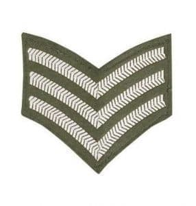 CHEVRON SERGEANT STRIPES CLOTH PATCH OLIVE GREEN R554