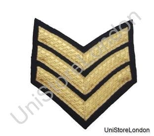 CHEVRON SERGEANT STRIPES GOLD BLACK  100mm 3 Bars WIDE R531