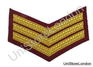CHEVRON SERGEANT STRIPES GOLD MAROON  150mm 3 Bars WIDE R1385
