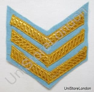 Chevron Sergeant Stripes Gold on Sky Blue 100mm Wide 3 Bars R1023