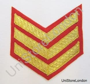 Chevron Sergeant Stripes Gold Red  100mm Wide 3 Bars R879