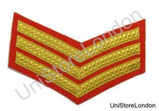 CHEVRON SERGEANT STRIPES GOLD RED  150mm 3 Bars WIDE R527