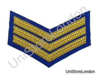 CHEVRON SERGEANT STRIPES GOLD ROYAL BLUE  150mm 3 Bars WIDE R1386