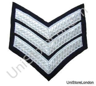 CHEVRON SERGEANT STRIPES Silver Black  100mm 3 Bars WIDE R886