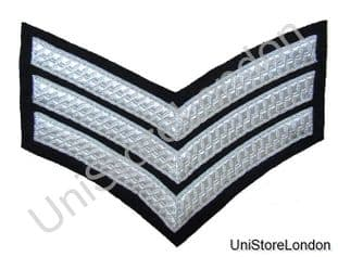 CHEVRON SERGEANT STRIPES Silver Black  150mm 3 Bars WIDE R885