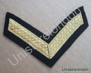 CHEVRONS LANCE CORPORAL STRIPES GOLD ON BLACK  1 BAR 100mm WIDE R529
