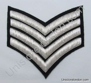 Chevrons Major Stripes Silver Bullion On Black 4 Bars 150mm Wide R1222
