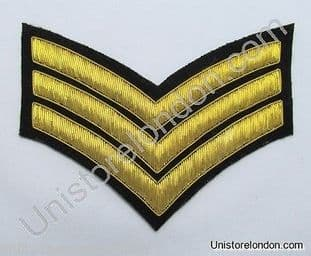 Chevrons Sergeant Stripes Gold Bullion On Black 3 Bars 150mm Wide R1223