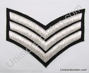 Chevrons Sergeant Stripes Silver Bullion On Black 3 Bars 150mm Wide R1224