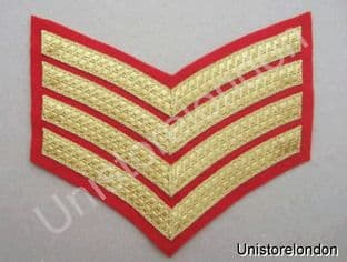 CHEVRONS STRIPES GOLD RED  4 BARS 150mm WIDE R528
