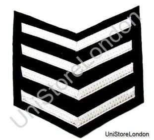 CHEVRONS STRIPES SILVER BLACK 4 BARS 185mm WIDE R1005