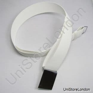Courlene Belt White With Plain Chrome Buckle 2 Loops 57mm R521